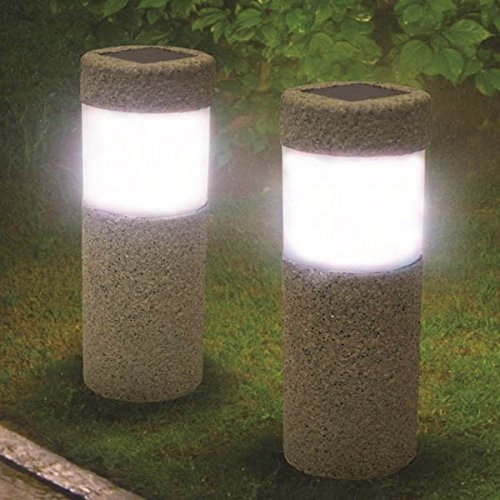 r Stein Säule Weiße Led Leuchten Garten Rasen Hof Dekoration Lampe (Baby-dusche-hof Dekorationen)