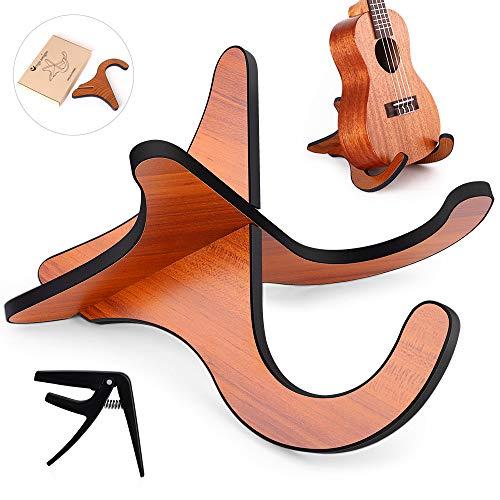 Ukulele Stand Pieghevole,upporto in Legno per Ukulele Soprano Violino a Forma X Anti-Scivoloso Con un capo