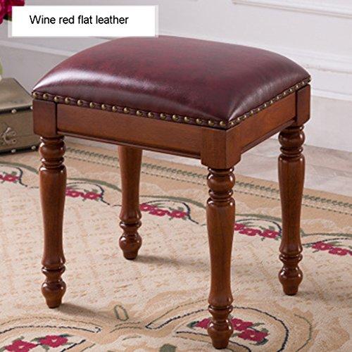 Ren Chang Jia Shi Pin Firm Europäischen Stil Esstisch Hocker Leder Platz Hocker Guzheng Hocker Hause Mode Make-up Hocker 40 * 30 * 45 cm (Color : Red B) (Make-up-schwämme-platz)