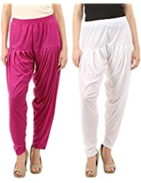 VP Texx Women's Cotton And Viscose Patiala Bottom Salwar Combo Pack Of 2 (Purple And White)