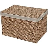 Caja de almacenamiento de mimbre, cofre forrado, natural, Large - L 51 x W 36 x H 33 cm