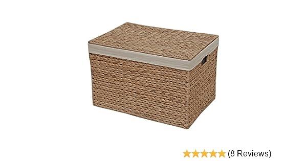 gef/üttert Medium natur Truhe Wasserhyazinthe Aufbewahrungsbox aus Korbgeflecht L 46 x W 31 x H 29 cm