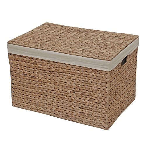 Boîte de rangement en osier Coffre doublé, naturel, Medium - L 46 x W 31 x H 29 cm