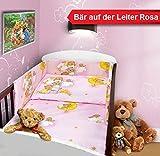 Baby Bettset 135x100 Wunderschöne Kinderbettwäsche Nestchen Bettuch Babybett NEU (3- teilig (Nestchen), Bär Leiter Rosa)