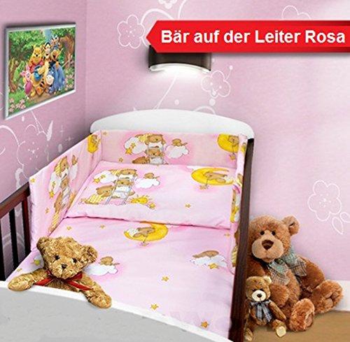 Baby Bettset 135x100 Wunderschöne Kinderbettwäsche Nestchen Bettuch Babybett NEU (5-teilig Nestchen Bettuch Hörnchen, Bär Leiter Rosa)