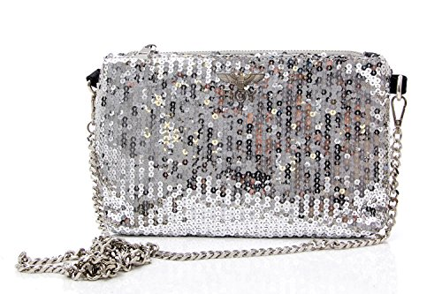 Boy London , Damen Clutch Silber / Schwarz