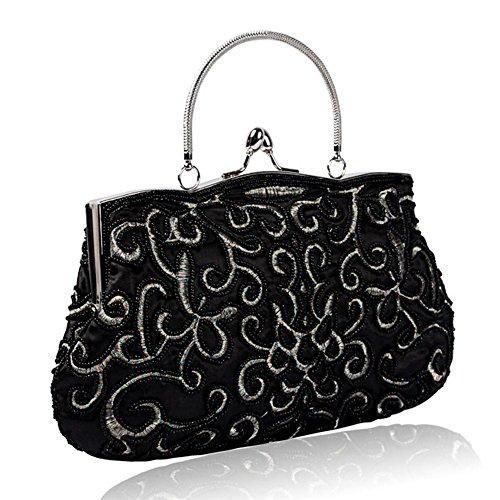 frau abendtaschen retro perlen satin bankett party kupplung handtasche. (28 x 22 cm) black
