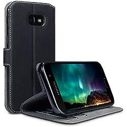 Coque Cuir Galaxy A5 2017, Terrapin Étui Housse en Cuir Ultra-mince Avec La Fonction Stand pour Samsung Galaxy A5 2017 Étui - Noir