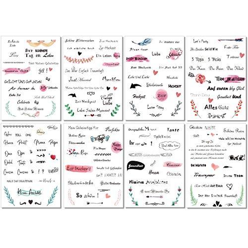 KASZOO Gästebuch Hochzeits Sticker, 175 Sticker, Schöne Sprüche Aufkleber, Watercolors Scrapbooking Design