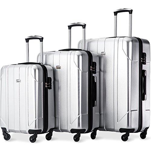 Hartschalen Kofferset Zwillingsrollen Reisekoffer Set 3 teilig Trolleys mit Zahlenschloss, Gepäck mit 4 Doppel-Rollen, Set-XL-L-M