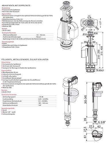 """Spülgarnitur Set Ablaufventil mit Doppeltaste 3/6 Liter und Füllventil 3/8"""" Metallgewinde Anschluss UNTEN Heberglocke Füll- Ventil"""