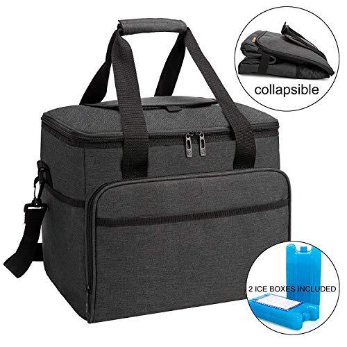 ALLCAMP 30L Kühltasche Faltbare Picknicktasche Thermo Tasche Isoliertasche Kühlkorb Kühlbox isolierbox mit 2 kühlakkus Schwarz
