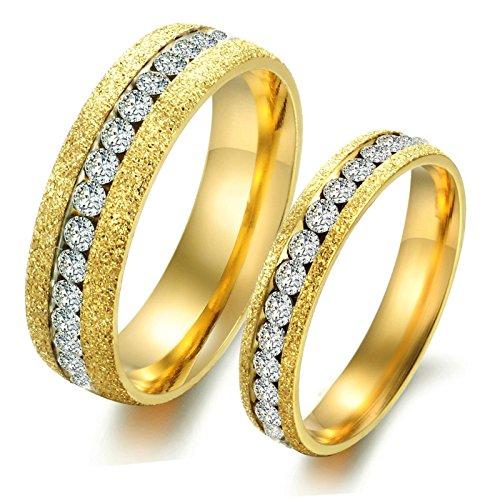 Ring Kostüm Werfen Herren - Daesar 1 Paar Herren & Herren Ringe Eheringe Edelstahl Ringe Zirkonia Gold Ringe Herren Größe 62 (19.7) & 60 (19.1)