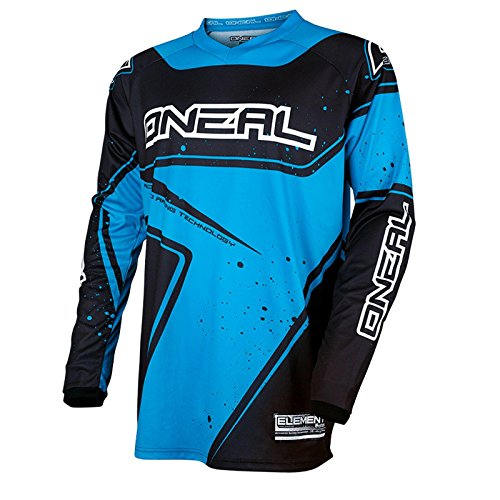 O'Neal Element Racewear Jersey Schwarz Blau MX MTB DH Trikot Motocross Offroad, 0028-00, Größe XL (Blau Hose Motocross)