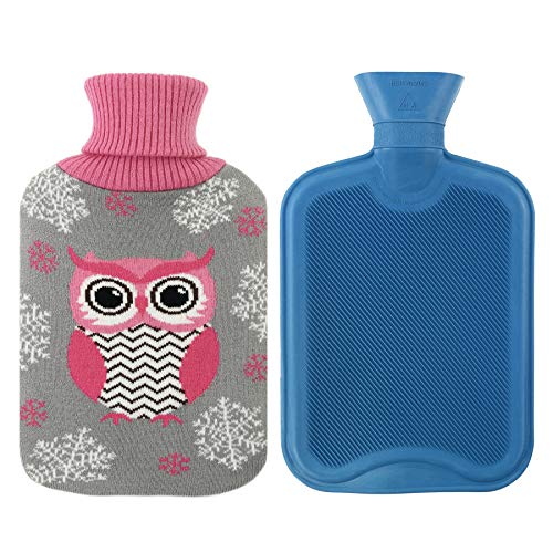Athoinsu Premium marca gomma classico borsa dell' acqua calda da 2litri con cute Owl Knit cover