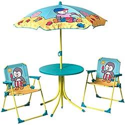 Unbekannt Fun House T Choupi Garten-Set: 1Tisch rund + 2Stühle + 1Sonnenschirm Größe 37x 25x 27, 46x Durchmesser 46, 1,25x Durchmesser 100cm