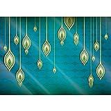 Vlies Fototapete PREMIUM PLUS Wand Foto Tapete Wand Bild Vliestapete - Abstrakt Orient Muster Vektorgrafik Illustrationen bunt blau gelb - no. 365, Größe:400x280cm Vlies