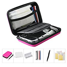Cyclingkit 11-in-1 Game Accessories kit for Nintendo 3DS XL, New 3DS XL EVA Protective Carrying Bag/Clear Plastic Case/ Clear HD screen protectors/ Game Card Case/ 6 Stylus Pens