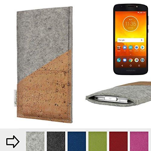 flat.design Handytasche Evora mit Korktasche für Motorola Moto E5 - Schutz Case Etui Filz Made in Germany in Hellgrau mit Korkstoff - passgenaue Handy Hülle für Motorola Moto E5
