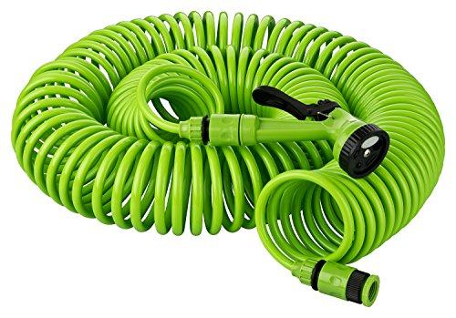 KINZO 30 Meter Gartenschlauch Komplettset | Spiralschlauch inkl. Gartenbrause mit 5 Funktionen | Schnellkupplung | Wasserhahnanschluss 1/2 Zoll