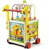 Lauflernwagen Holz Baby Gehhilfe Motorikwürfel Lauflernhilfe Walker Gehfrei Kind mit höhenverstellbarem Griff