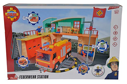 Simba 9258282 Feuerwehrmann Sam - Station mit offizieller Figur Steele