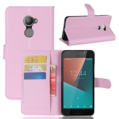 Vodafone Smart N8 Handyhülle Book Case Vodafone Smart N8 Hülle Klapphülle Tasche im Retro Wallet Design mit Praktischer Aufstellfunktion - Etui Rosa