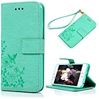 iPhone 6S Case , iPhone 6 Case Cover 4.7 Inch - Lanveni Butterfly Flowers Embossed Retro Premium PU Leather Magnetic Flip Wallet Cover with Detachable Hand Strap & Card Slots & Stand Function for iPhone 6S & iPhone 6 4.7'' , Mint Green