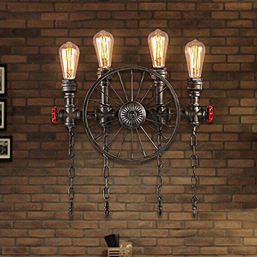 Retro Räder Wandleuchte Wasser Rohr Lampe Vintage Water Pipe Edison E27 Design Wandlampe Industrielle Stil Beleuchtung Wand Dekor Antik Leuchte für Flur Küche Loft Restaurant Cafe Bar, 4 Licht -