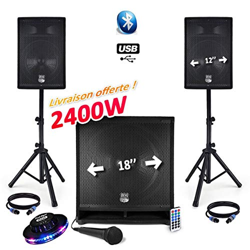 PACK SONORISATION COMPLET BM SONIC BMS1812-2400W USB/BT MKII - 2 Enceintes 12' + Caisson SUB Actif 18' Animation Mobile Mariage