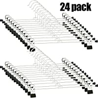 Trouser Hanger - Skirt Hangers with Clip Pants Hanger Trouser Hangers Space Saving for Trouser Skirt Pants Clothes (24 Pack)