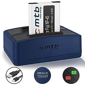 Batteria + Caricabatteria doppio (USB) per Fujifilm NP-45 / Finepix J.. / JV.. / JX600 ../ JZ500.. / XP80 XP90... - vedi lista di compatibilità