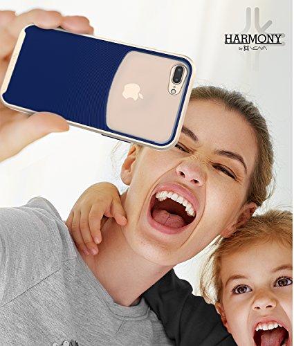 """iPhone 7 Plus hülle, Vena [Harmony] Welle Textur [Hybride Klar Zurück Platte][CornerGuard Fallen Beweis] Slim Fit schutzhülle Case Cover für Apple iPhone 7 Plus (5.5"""") - Schwarz (Jet Schwarz) Gold / Marine Blau"""