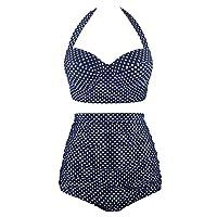 Angerella Women Vintage Halter Neck Polka Dot High Waisted Ruched Bathing Suits Bikini Set, Navy, UK20-22=Tag Size 5XL
