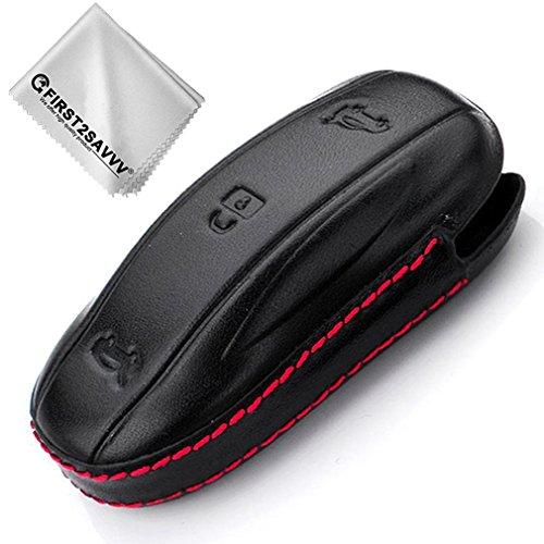 First2savvv Étui pour télécommande clé en cuir doux pour Tesla Model X CAR-Model X-P01
