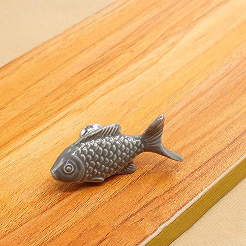 HCHANG Türgriff, Einloch Keramikgriff, Farbe Small Fish Style Bücherregal Schubladenschrank Griff,Gray Gray Griff