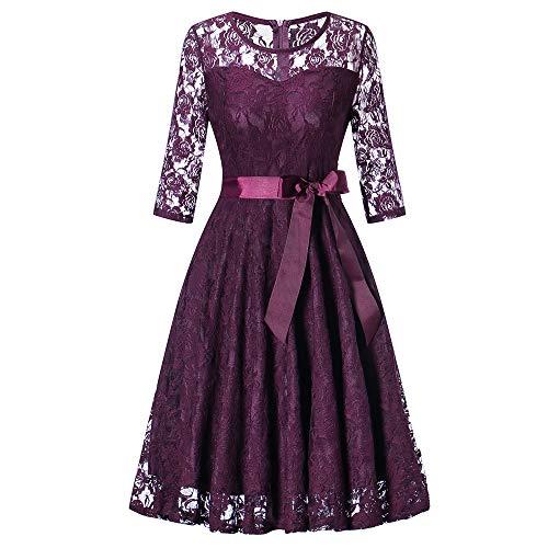 MIRRAY Damen Abendkleider Brautkleid Cocktailkleid Lange Ärmel Formale Hochzeit Brautjungfer Spitze Kleid Partykleid mit Schärpen (Violett,XX-Large