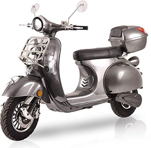 Elektroroller Classico, 3000 Watt, E-Scooter, Elektro-Roller, E-Roller mit Straßenzulassung, 45 km/h, fest verbauter Blei-Gel-Akku, Produktvideo, Silbergrau