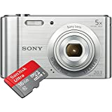 Sony DSC-W800 20.1MP Point And Shoot Camera With 5x Optical Zoom + 4 GB Card + Camera Case + SanDisk Ultra Micro SDHC UHS-I 16GB Class 10 Memory Card With Adapter (Upto 30 Mbps Speed)