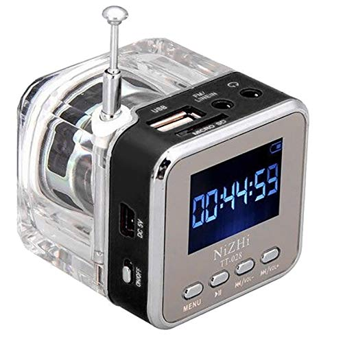 HCFKJ Mini USB MicroSD Karte FM Radio LCD Display Lautsprecher Musik MP3 Player (BK)