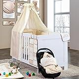 5-tlg. Babybettset Kleiner Prinz oder Kleine Prinzessin in Blau, Rosa oder Cream, Farbe:cream;Motiv:Kleine Prinzessin