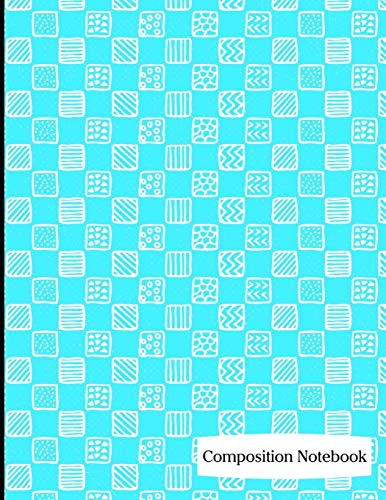 Composition Notebook: Sky Blue Square Pattern Composition Notebook - 8.5
