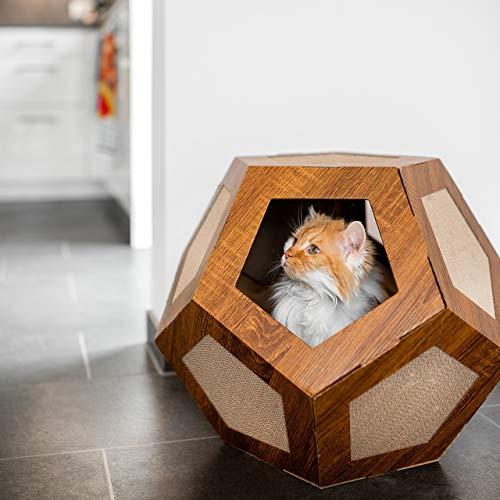 CanadianCat Company ®   Hexa-Box   Höhle mit Kratzfläche   Kratzliege   Kratzmöbel   Kratzbrett   Katzen   Kratzkarton