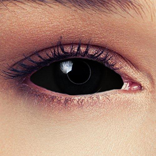 """Designlenses, Dos Sclera lentillas de color negro para Halloween 22mm Zombie lentillas de seis meses sin dioprtías/corregir + gratis caso de lente """"Black Witch"""""""