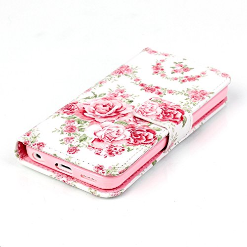 Coque Housse Etui iPhone 5C Cuir PU - Aeeque Coque à Rabat Fonction Portefeuille de Carte Slots Support Bouton Magnétique Case Housse Cover Coque iPhone 5C [Charmant Ours Rose] Rose Fleur