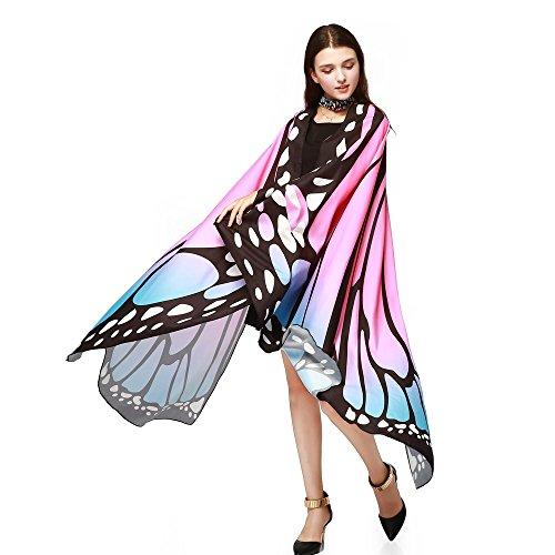 Xuthuly Damen Schmetterling Kostüm Faschingkostüme Schmetterling Schal Flügel Schal Tuch Schmetterlingsflügel Erwachsene Poncho Umhang für Party Halloween Weihnachten Kostüm Cosplay