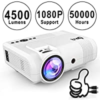 DR.Q Projector, L8 Mini Video Projector 3800 Lumen, 1080P HD, VGA AV USB TF, Home Theater Projector, White