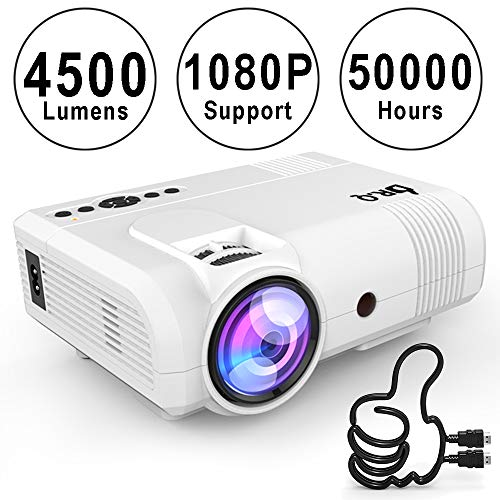 51yXiISIXbL. SS500  - DR.Q Projector, L8 Mini Projector 4500 LUX, Video Projector Supports 1080P HD, Increased 90% Color Light Output & Lamp Life, Supports HDMI VGA AV USB TF Devices, Home Theater Projector, White.