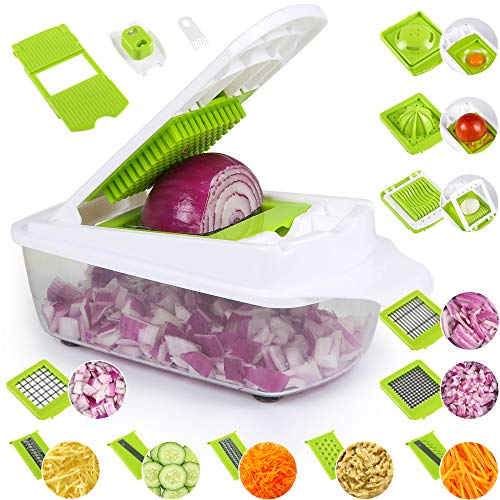Edaygo Gemüseschneider Gemüsehobel Zerkleinerer Multischneider Kartoffelschneider Pommesschneider Zwiebelschneider, 14-teilig
