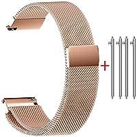 Rameng 22mm / 20mm / 18mm / 16mm / 14mm Bracelet de Montre, Fermeture magnétique Fermoir Boucle de maille milanaise en acier inoxydable Sangle Pour Montre Intelligente et Montre Universelle